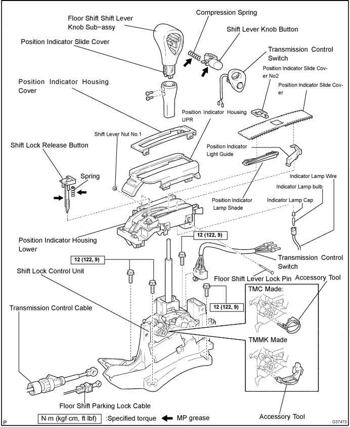 floor shift assy atm components