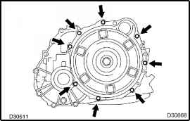 Remove automatic transaxle assy toyota camry 2002 2006 repair install the transmission case cover upper with the 3 bolts torque 12 n m 122 kgf cm 9 ft ibf fandeluxe Choice Image