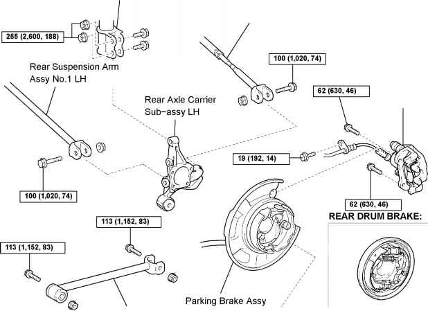 toyota rear suspension diagram