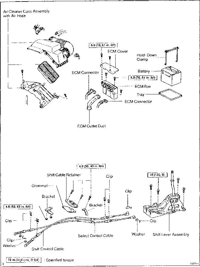 shift lever and control cable components