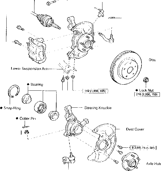 1985 toyota front axle hub diagram  toyota  auto parts