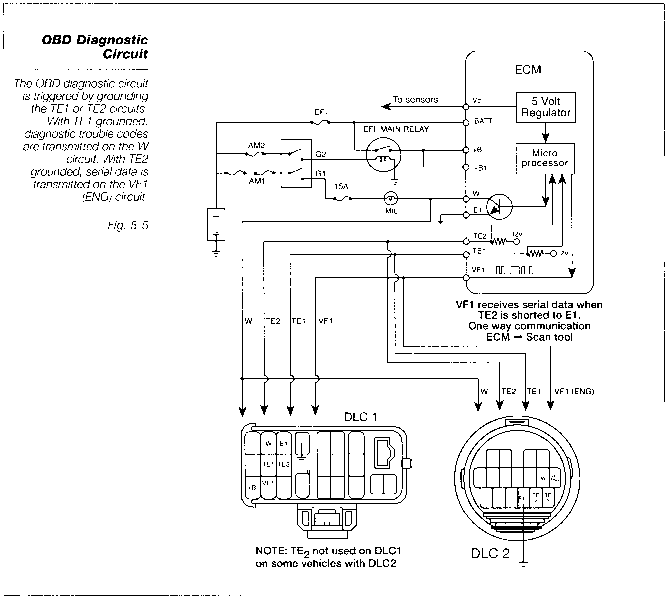2002 toyota camry engine diagram the obd diagnostic circuit toyota engine control systems  the obd diagnostic circuit toyota