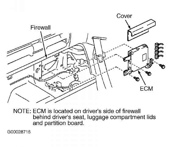 2001 toyota ta a ecm location