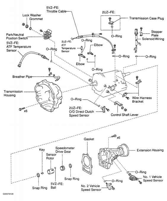 nd brake clutch pack clearance specifications toyota sequoia a340e no2 vehicle speed sensor fig 6 locating a340e external transmission components sequoia tundra courtesy of toyota motor s u s a inc
