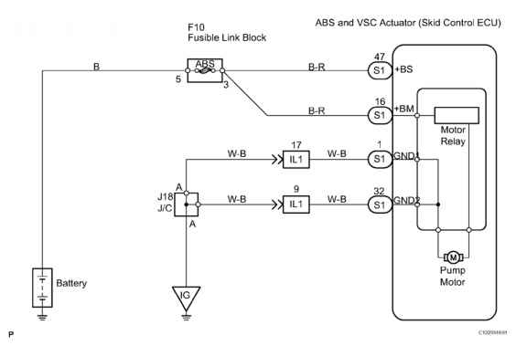 a replace abs traction actuator dtc c open or short circuit in abs 44 identifying open or short circuit wiring diagram courtesy of toyota motor s u s a inc
