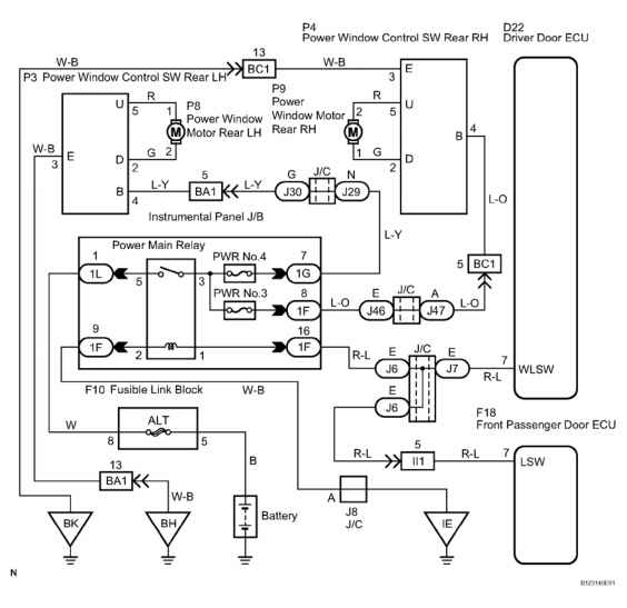 driver side door window lock signal circuit description toyota 29 driver side door window lock switch wiring diagram courtesy of toyota motor s u s a inc
