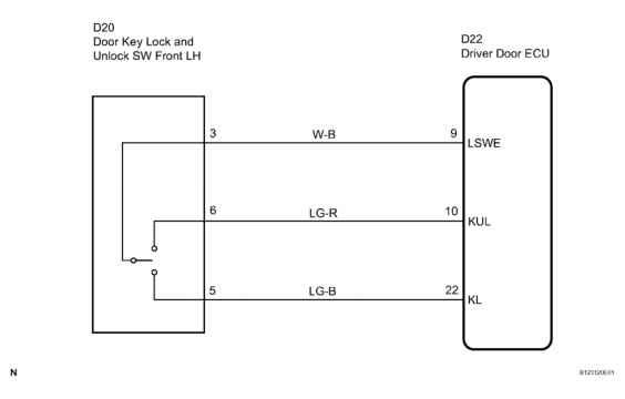 Driver Side Door Key Lock And Unlock Switch Circuit