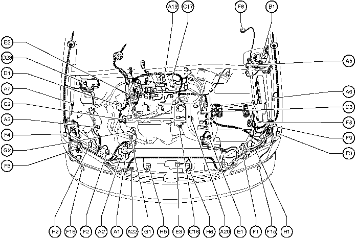 Position of Parts in Engine Compartment Toyota Sienna 19972003 Repair