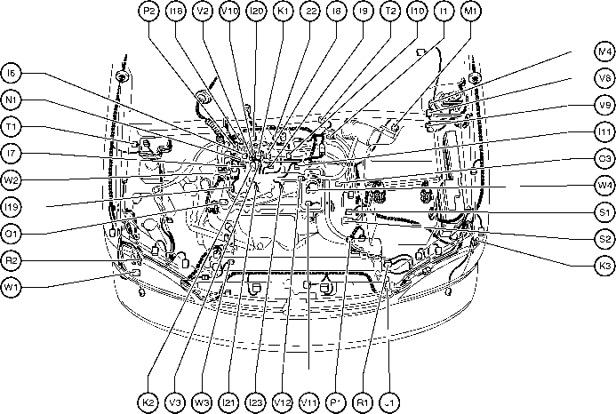 position of parts in engine compartment