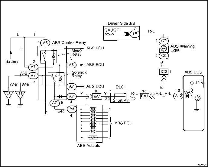 Abs Warning Light Circuit on toyota camry wiring diagram